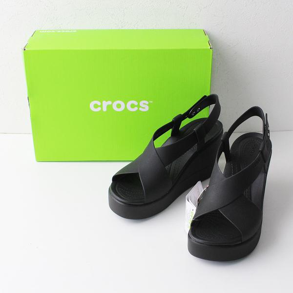 未使用品 crocs クロックス brooklyn high wedge W ブルックリン ハイウェッジ サンダル UK5/ブラック ヒール【2400012041875】