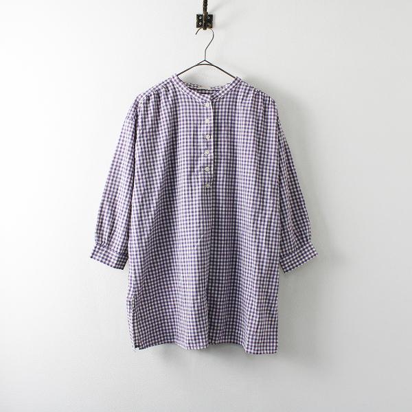 Samansa Mos2 SM2 サマンサモスモス コットン バンドカラー チェックシャツ F/パープル ブラウス トップス【2400012047839】