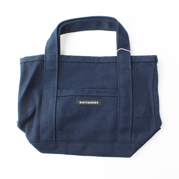未使用品 marimekko マリメッコ MINI PERUSKASSI キャンバス トートバッグ/ネイビー 鞄【2400012061699】