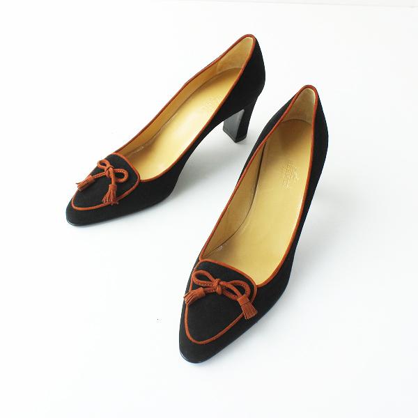 HERMES エルメス スエード リボン タッセルパンプス 37.5/ブラック 靴 チャンキーヒール【2400012065154】
