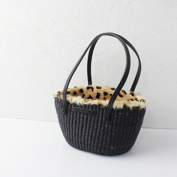 定価2.7万 MUUN ムーニュ Mini レオパードファーかごバッグ/ダークブラウン 鞄 かばん【2400012065383】