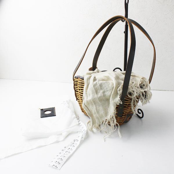 2017SS 定価5.2万 ebagos エバゴス 小ぶりバッグ ブライドルレザー×紅籐 /鞄 かごバッグ【2400012065390】