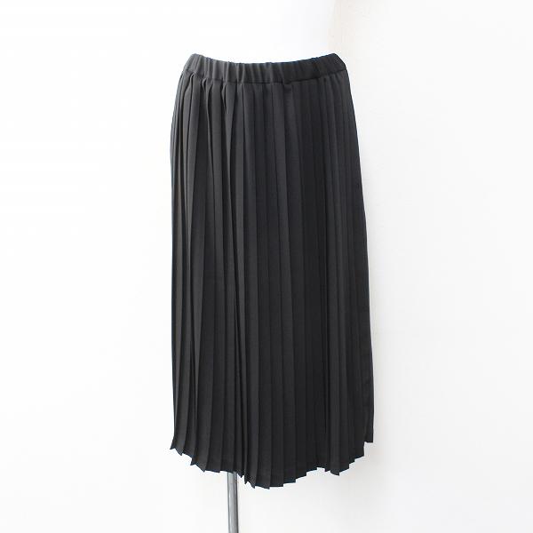 未使用 mizuiro ind ミズイロインド イージープリーツスカート F/ブラック フレア ゴム【2400012067578】