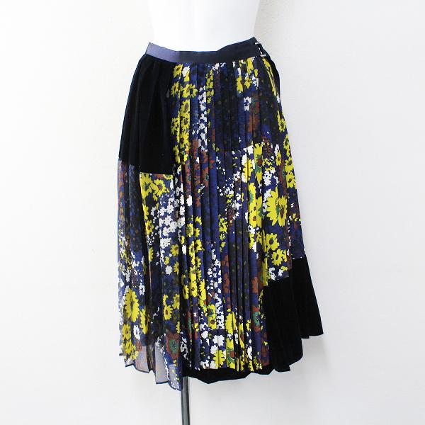 美品 2018AW sacai サカイ Floral Print Skirt フラワープリントプリーツラップスカート2/ネイビー ボトムス【2400012071353】