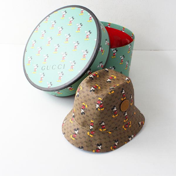 未使用品 箱付き 2020年 GUCCI×DISNEY グッチXディズニー ミッキーマウス GG柄 バケットハット M(58cm)/帽子【2400012074781】-.