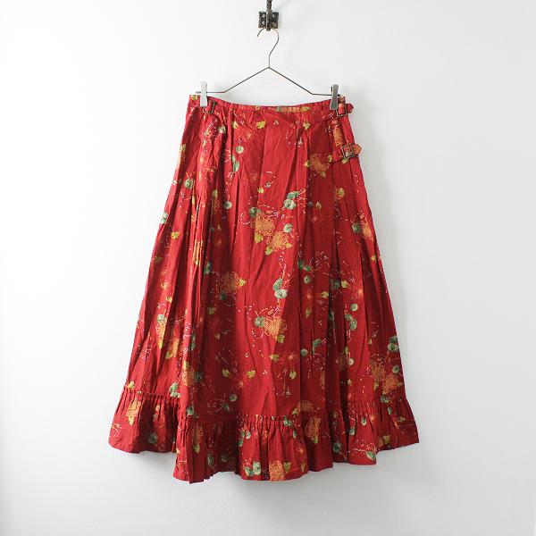 KANEKO ISAO カネコイサオ アクセサリープリント ラップ スカート F/レッド フレア タック【2400012078697】