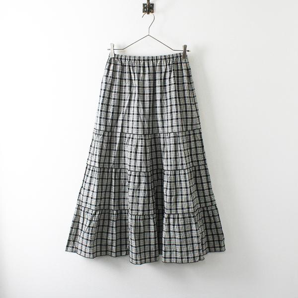 KANEKO ISAO カネコイサオ コットンリネン チェック ティアード スカート F/ブラック 段々【2400012079052】