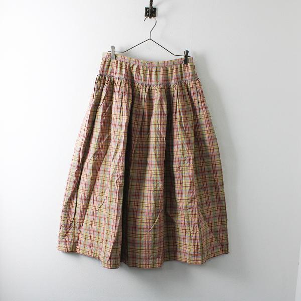KANEKO ISAO カネコイサオ 裾ピコ キルティング チェック ギャザースカート F/ピンク【2400012079083】
