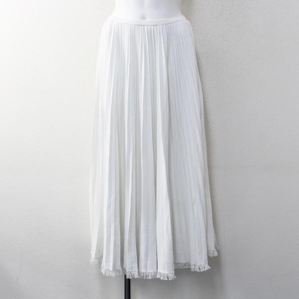 定価9.3万 2019Resort Drawer ドゥロワー コットンフリンジプリーツスカート F/ホワイト フレア【2400012080638】