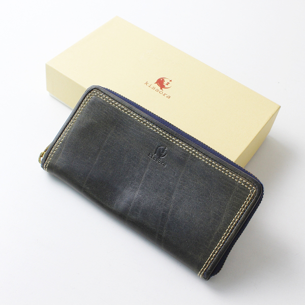 Kissora キソラ レザー ラウンドジップ ロングウォレット/ダークグリーン系 小物 財布【2400012081291】