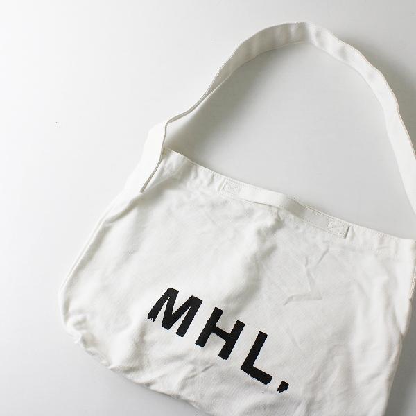 【期間限定20%OFF!】MHL. MARGARET HOWELL マーガレットハウエル ロゴ キャンバス ショルダーバッグ/ホワイト【2400012083585】