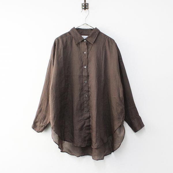 2019SS 定価3.7万 L'Appartement DEUXIEME CLASSE Lisiere FEMME ドゥーズィエムクラス RAMIEシャツ /ブラウン【2400012086760】-.