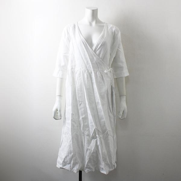 美品 studio CLIP スタジオクリップ リネン カシュクール ワンピース F/ホワイト【2400012087545】