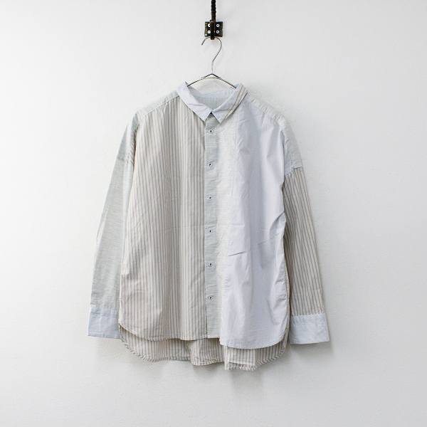 2020SS nop de nod ノップドゥノッド misc コットンワイドシャツ M/ベージュ ライトグレー トップス【2400012090798】