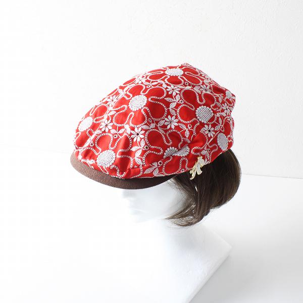 美品 E-ZOO イーズー HUNTING-APPLE 刺繍 ハンチング帽/レッド 小物 帽子【2400012091726】