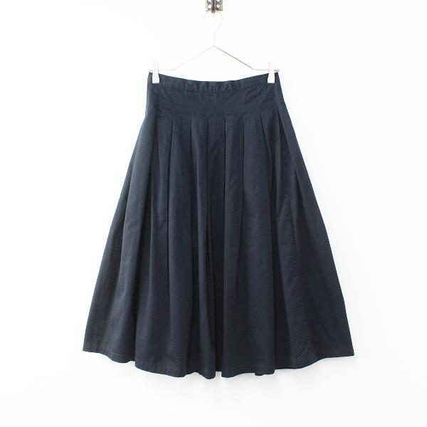 GRANDMA MAMA DAUGHTER グランマママドーター コットン チノプリーツスカート 0/ネイビー フレア ボトムス【2400012092037】