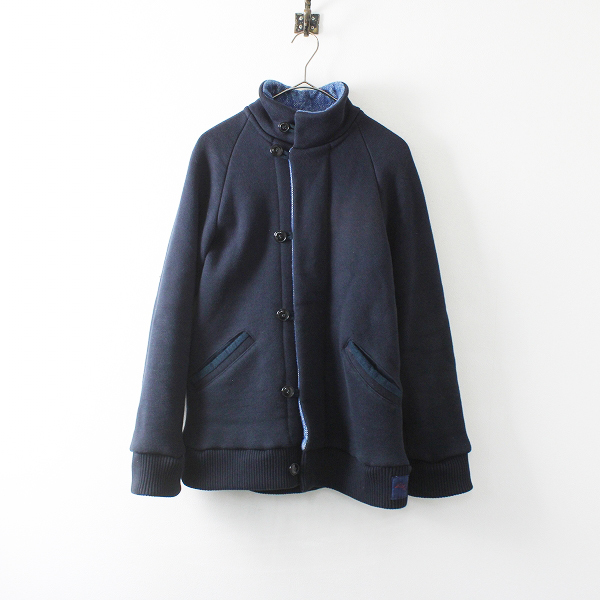メンズ 聖林公司 BLUE BLUE ブルーブルー 裏起毛 インディゴ ニットジャケット 1/ネイビー ハリウッドランチマーケット【2400012094789】