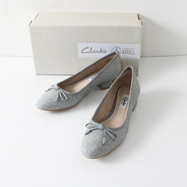 未使用 Clarks クラークス Eliberry Isla ドット リボン パンプス UK3/グレー 22.5cm【2400012095564】