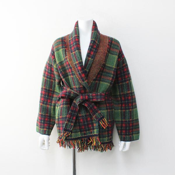 美品 45R フォーティーファイブ Boiled Knit Tartan 908 Cowichan タータンチェック ニット ガウン 2/グリーン 45rpm【2400012095915】-.