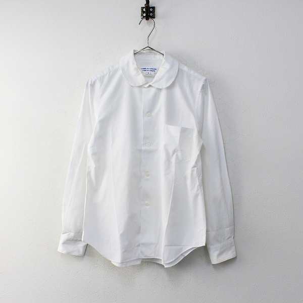 コムコム COMME des GARCONS コムデギャルソン AD2018 丸襟 長袖 シャツ S/ホワイト カットソー トップス【2400012095946】