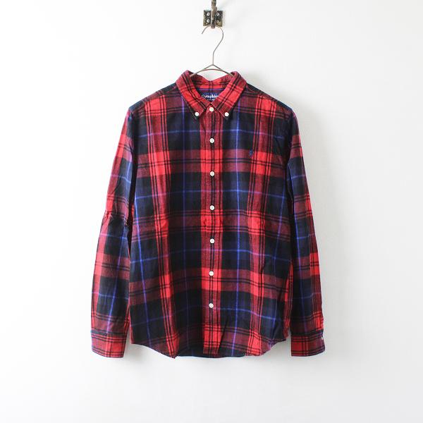 GYMPHLEX ジムフレックス コットン チェック ボタンダウンシャツ 14/レッド トップス【2400012096271】