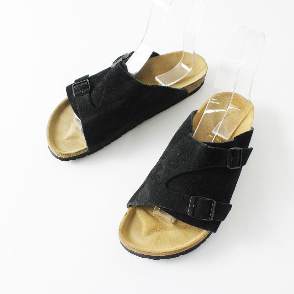 BIRKENSTOCK ビルケンシュトック ZURICH チューリッヒ スエード フラットサンダル 24.5/細幅 ブラック 靴【2400012096448】