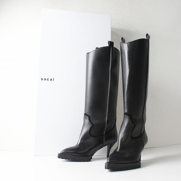 美品 新作 定価13.7万 2020AW sacai サカイ 20-05365 Leather Long Boots 37/ブラック レザーロングブーツ【2400012097001】-.