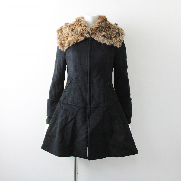 Lois CRAYON ロイスクレヨン 2010 受注 ファー付きアンゴラ ウール コート シェリル M/ブラック ジップ アウター【2400012097360】
