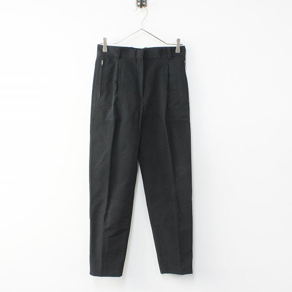CELINE セリーヌ ジップポケット付き コットンナイロン クロップドパンツ34/ブラック ボトムス【2400012098718】