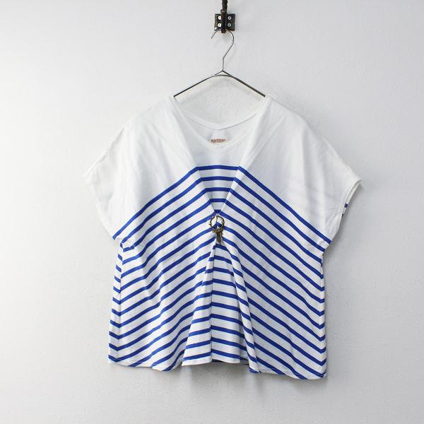 KAPITAL キャピタル 度詰めパネルボーダー天竺 サクタTシャツ 1/ホワイト ブルー【2400012100169】