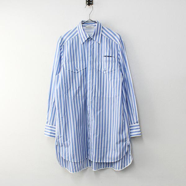 国内正規品 2018AW CELINE セリーヌ コットン ストライプシャツ 38/ホワイト ブルー フィービー オーバーサイズ【2400012100411】