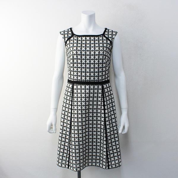 美品 オンワード樫山 TOCCA トッカ WOOL LUCKY CLOVER ドレス 0/ブラック ウールラッキー クローバー ワンピース【2400012100572】