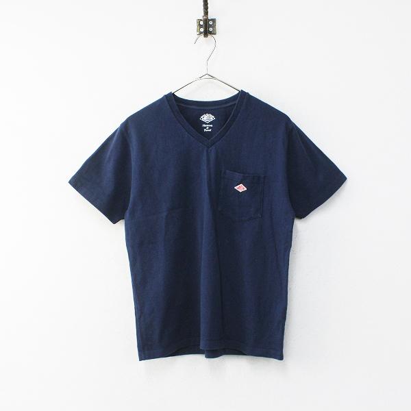 2017SS DANTON ダントン JD-9088 VネックポケットTシャツ 36/ネイビー トップス【2400012102088】