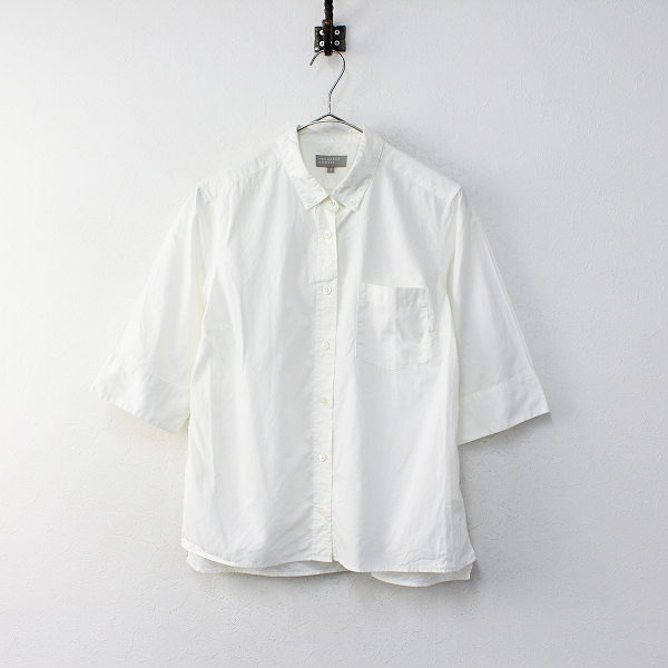 MARGARET HOWELL マーガレットハウエル コットン 半袖 ボタンダウンシャツ 3/オフホワイト トップス【2400012102415】