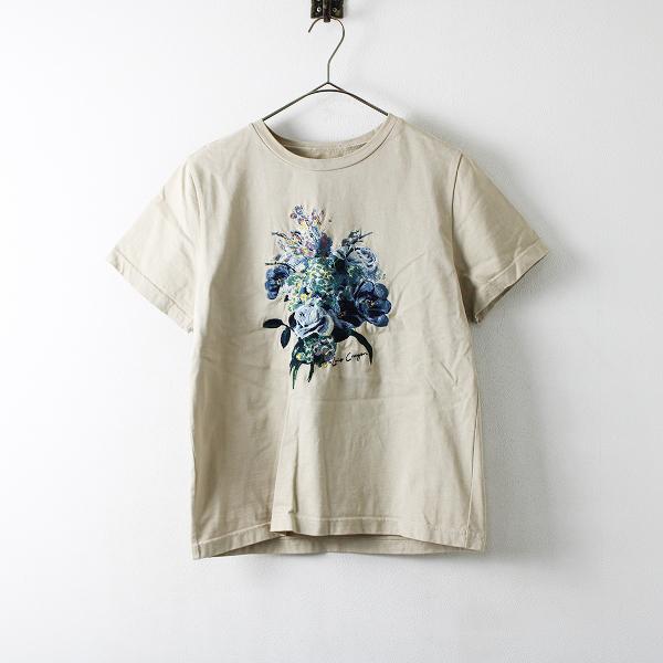 2019SS HP掲載品 Lois CRAYON ロイスクレヨン クラッチブーケ 刺繍 Tシャツ M/ベージュ トップス カットソー【2400012103917】