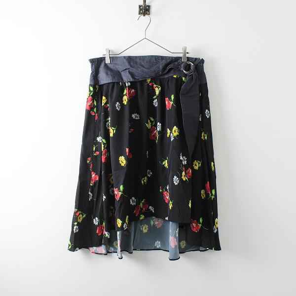 大きいサイズ ef-de エフデ デニムベルト フラワープリント スカート 21/ブラック【2400012105058】