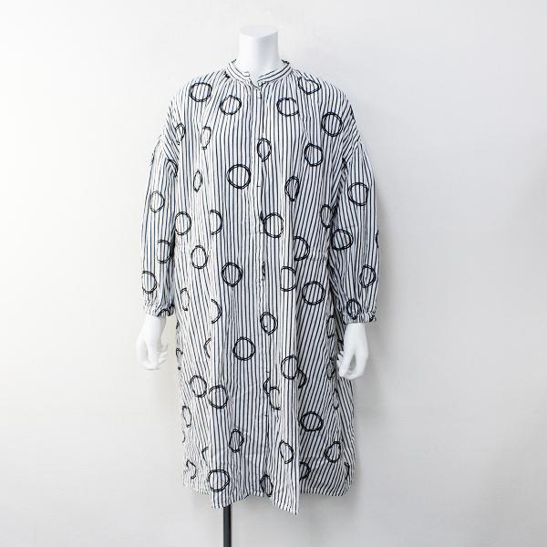 Bliss bunch ブリスバンチ サークル刺繍 ストライプ ワンピース FREE/ホワイト グレー【2400012105614】