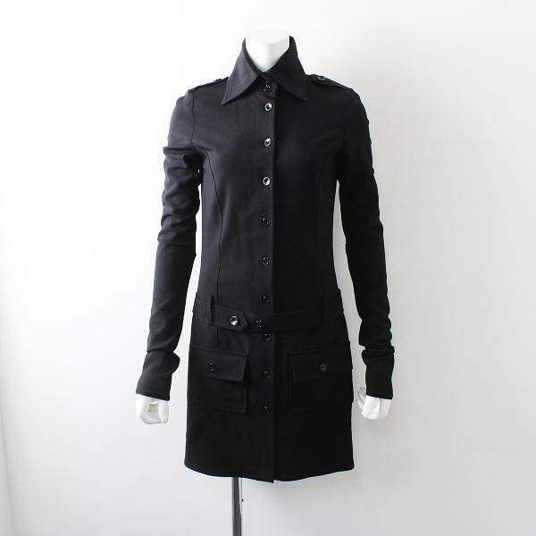 PATRIZIA PEPE パトリツィア ペペ ウール混 ロング シャツ コート 40/ブラック ボタン アウター【2400012105706】