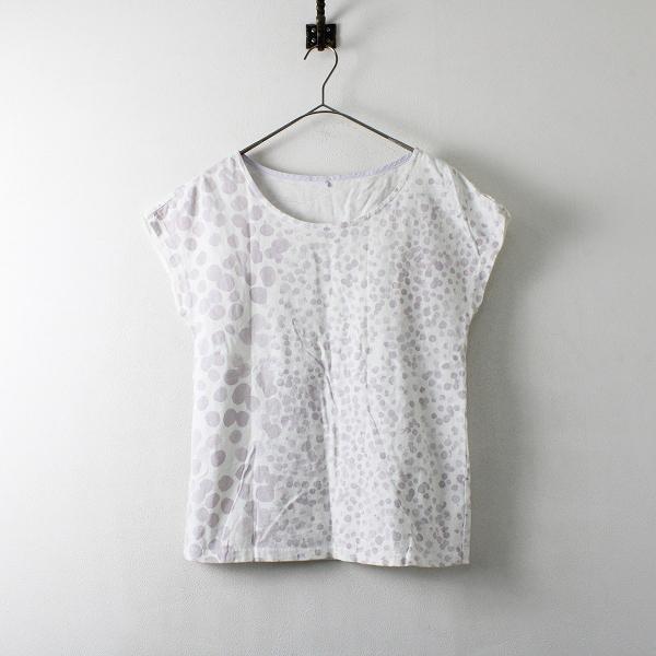 Pal'las Palace パラスパレス コットン フレンチスリーブ ドット風 Tシャツ 3/ホワイト パープル トップス【2400012110588】