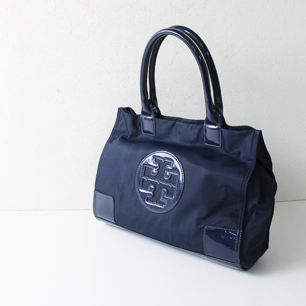 TORY BURCH トリーバーチ エナメル切替 トートバッグ/ネイビー 鞄【2400012111363】