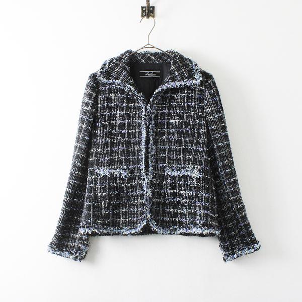 Leilian レリアン ツイード コサージュ付 ジャケット 9/ブラック 長袖 上着【2400012112711】