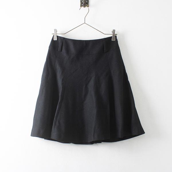 BURBERRY LONDON バーバリー ウールカシミヤ混 フレア スカート 36/ブラック ジップ ミニ ボトムス【2400012122826】