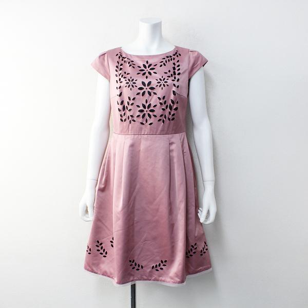 tocca トッカ サテンカットワークフラワーモチーフ 半袖ワンピース2/ピンク ドレス 花柄【2400012123816】