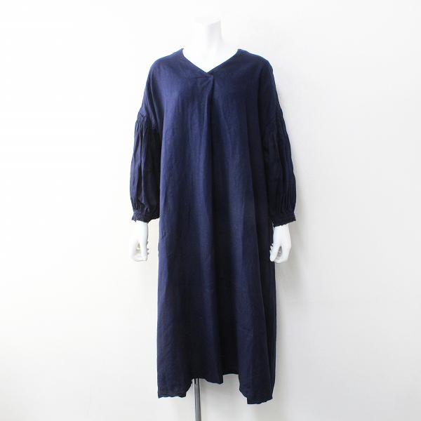 2020AW nest Robe ネストローブ 01203-1512 Linen balloon sleeve dress リネンバルーンスリーブドレスF/インディゴ【2400012129474】