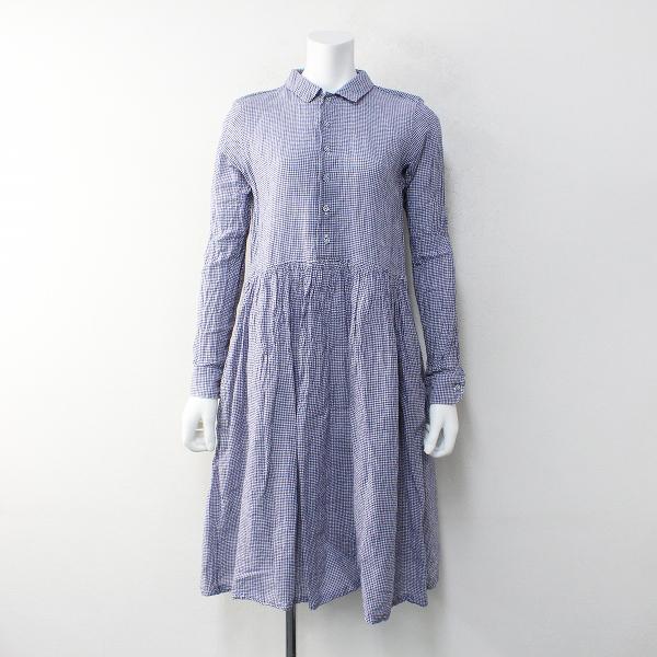 R&D.M.Co- オールドマンズテーラー ギンガムチェック ギャザーシャツドレス F/ブルー【2400012130494】