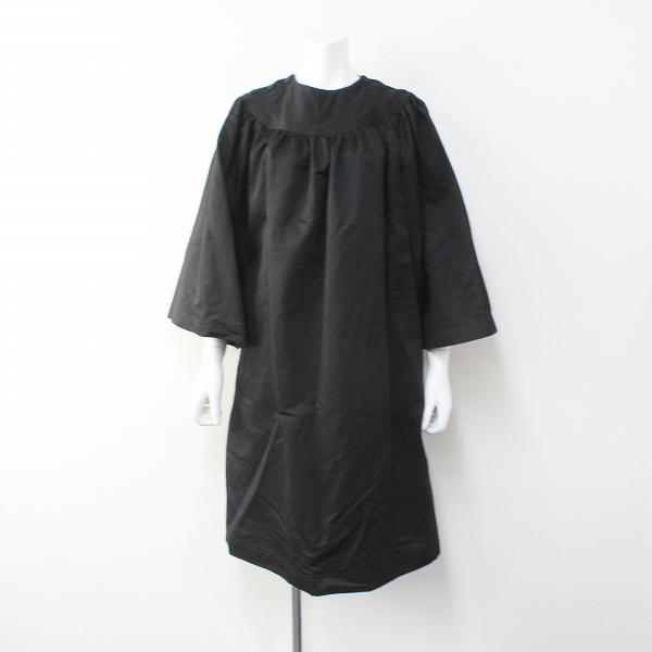 極美品 定価6.3万 R&D.M.Co- オールドマンズテーラー 肩ボタン ベルスリーブ コットンリネン ギャザードレス S/ブラック【2400012130531】