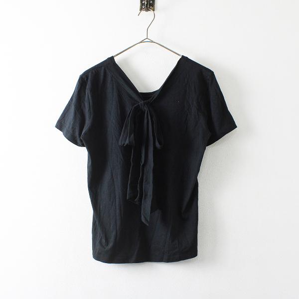 【期間限定60%OFF!】Lois CRAYON ロイスクレヨン コットン バックリボン Tシャツ M/ブラック プルオーバー ブラウス トップス【2400012131033】