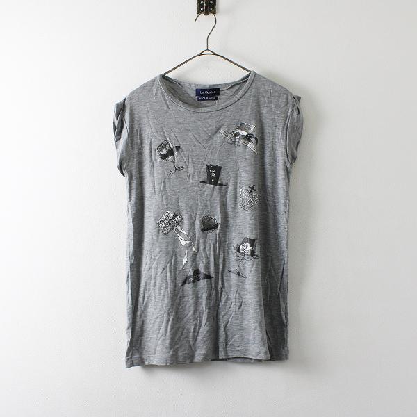 Lois CRAYON ロイスクレヨン ハットプリント Tシャツ M/グレー プルオーバー ノースリーブ トップス【2400012131132】
