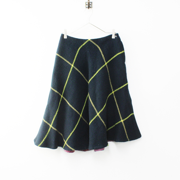 45R フォーティーファイブアール ダブルクロスツィードスカート 2/グリーン ネイビー ウール チェック 45rpm【2400012135642】