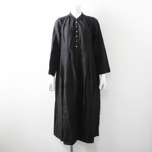 2017AW 秋冬 定価2.7万 nest Robe ネストローブ 001173-1090 リネン Yネック ドレス F/ブラック【2400012138117】